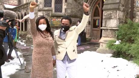 Oneita and Clive Thompson celebrate their freedom after ICE dropped its removal order.
