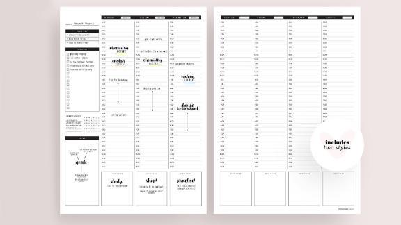 Heart Eyes Paper Weekly Hourly Printable Planner