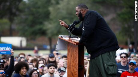 Killer Mike addresses a campaign rally ahead of Democratic presidential candidate Sen. Bernie Sanders in South Carolina on February 28.