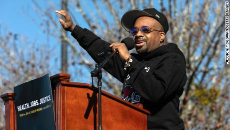 Jermaine Dupri speaks during a campaign rally for US Senate candidates Jon Ossoff and Raphael Warnock on December 5.