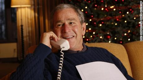 Bush making a Christmas Eve telephone call to US Armed Forces in 2008, from Camp David.
