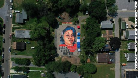 A ground mural depicting Breonna Taylor is seen being painted at Chambers Park in Annapolis, Maryland, on July 5, 2020.