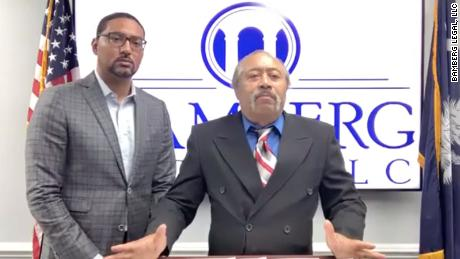 Jethro DeVane and his lawyer Justin Bamberg (left) during a press conference on Tuesday, December 22, 2020.