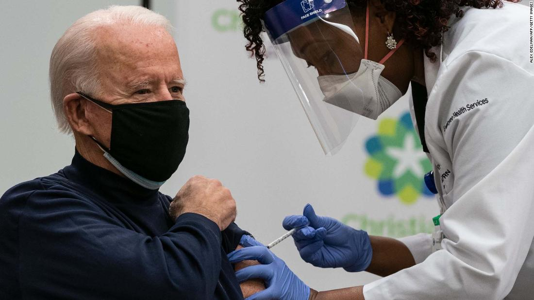 US President-elect Joe Biden receives the first dose of his Covid-19 vaccine during a live televised event in Newark, Delaware, on December 21.