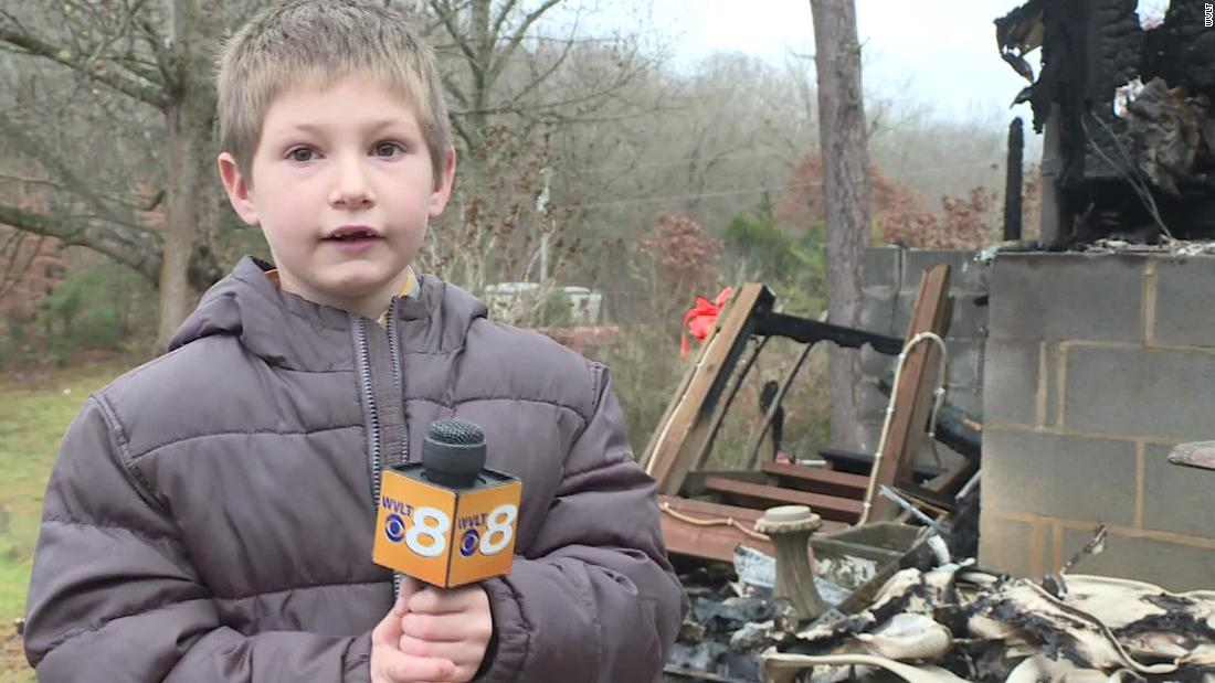 A seven-year-old boy is back in a burning house to save his sister