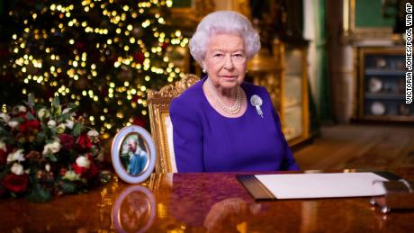 Queen Elizabeth II records her annual Christmas broadcast at Windsor Castle.