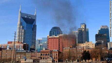After the explosion, thick smoke rose from downtown Nashville.