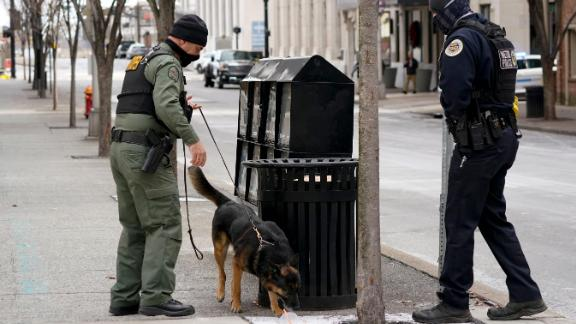 A K-9 unit works in the area of the explosion.
