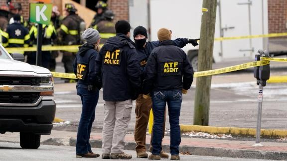 Alcohol, Tobacco, Firearms and Explosives (ATF) agents evaluate the site of the explosion.