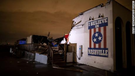 General view of a mural on heavily damaged The Basement East in the East Nashville neighborhood on March 3, 2020 in Nashville, Tennessee. A tornado passed through Nashville just after midnight leaving a wake of damage in its path including two people killed in East Nashville.