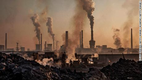 Smoke billows from a large steel plant in Inner Mongolia, China.