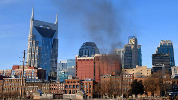 Smoke rises from 2nd Avenue North in downtown Nashville after the explosion.