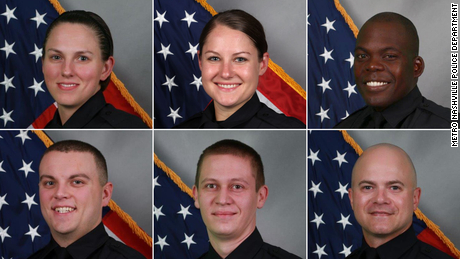 Clockwise, from top-left: Officer Amanda Topping, Officer Brenna Hosey, Officer James Wells, Officer Michael Sipos, Officer Richard Luellen and Sgt. Timothy Miller.