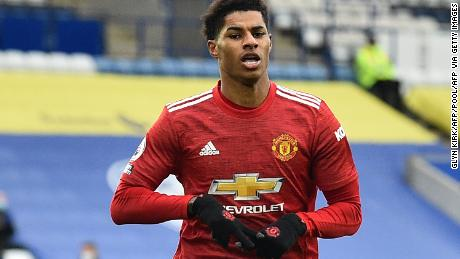 Marcus Rashford celebrates after scoring the opening goal of the Boxing Day clash against Leicester City at the King Power Stadium.