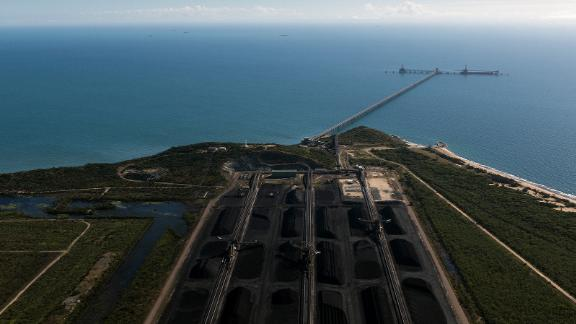 Coal awaiting export at the Abbot Point coal terminal, in Queensland, Australia, July 5, 2017. Australia has approved the Adani Group's Carmichael coal mine project, which would export through this port.