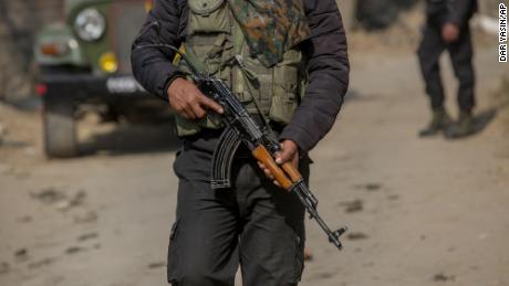 An Indian army soldier patrols Indian-controlled Kashmir in November 2020.