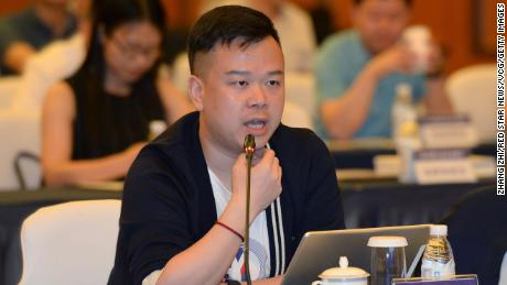 Lin Qi, chairman and CEO of Yoozoo Games, speaks during a meeting on May 25, 2018 in Chengdu, Sichuan province.