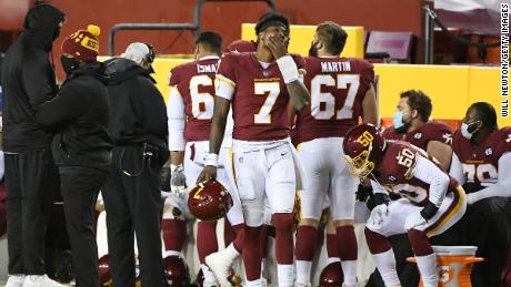 Dwayne Haskins #7 of the Washington football team reacts on the sidelines of the Carolina Panthers.
