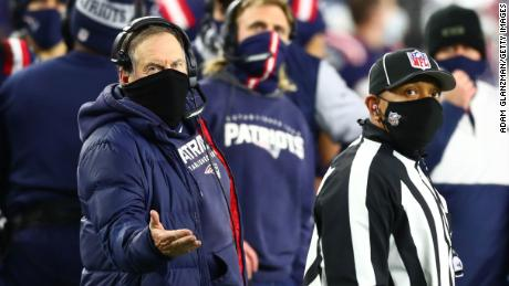 Belichick reacts toward the referee during the second half against the Buffalo Bills.