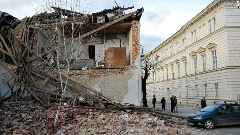 A building destroyed in the earthquake in Petrinja.