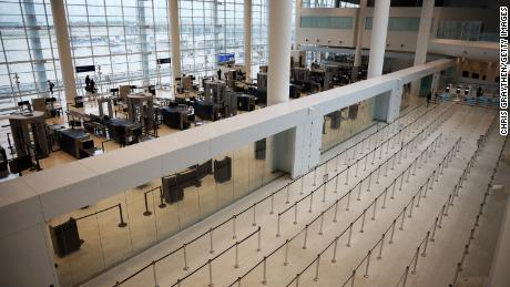 Empty TSA security lines are seen at Louis Armstrong International Airport in New Orleans, Louisiana. Air travel is down an estimated 94 percent due to the coronavirus  pandemic