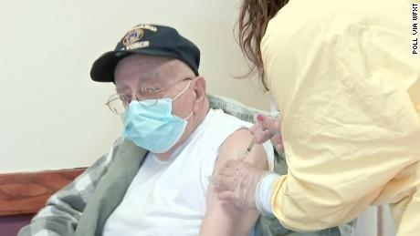 Dominic Pitella, 94, was given a Covid-19 vaccine at a veterans nursing home in Chelsea, Massachusetts, on Tuesday.