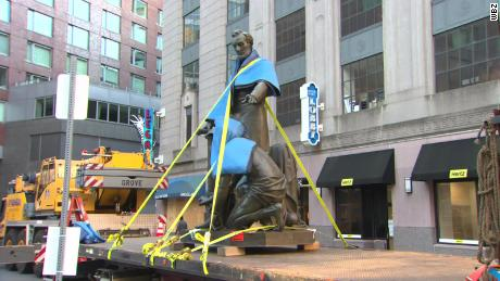 "The ""Emancipation Group"" statue was removed after being on display for more than 140 years in Boston."