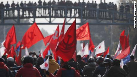 Supporters of the splinter group in the governing Nepal Communist Party protest in Kathmandu on December 29.