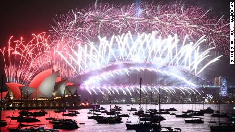 New Year's Eve fireworks erupt over Sydney's Harbour Bridge and Opera House during the fireworks show on January 1, 2020.