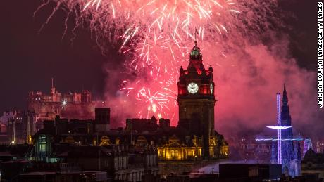 Fireworks are launched from Edinburgh Castle at midnight during the 2020 Hogmanay New Year celebrations.