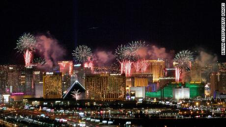 "Fireworks illuminate the skyline over the Las Vegas Strip during an eight-minute pyrotechnics show put on by Fireworks by Grucci titled ""America's Party 2020."""