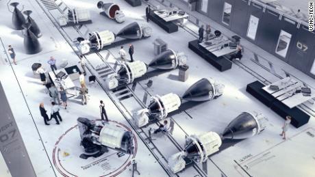 Εμφάνιση συστημάτων USNC-Tech NTP σε ουρά στο υπόστεγο πυραύλων.  Το σύστημα έχει μήκος περίπου 13 πόδια (τέσσερα μέτρα).
