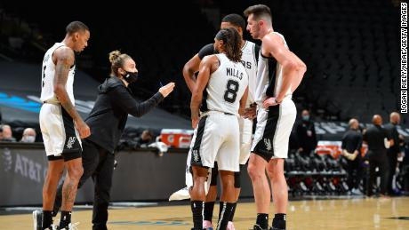 Hammon, seen here coaching the Spurs on Wednesday, joined the team as an assistant in 2014, becoming the first woman to hold a full-time coaching position in the NBA.