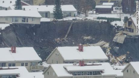 A view of the landslide that hit north of Oslo, Norway, on Wednesday.