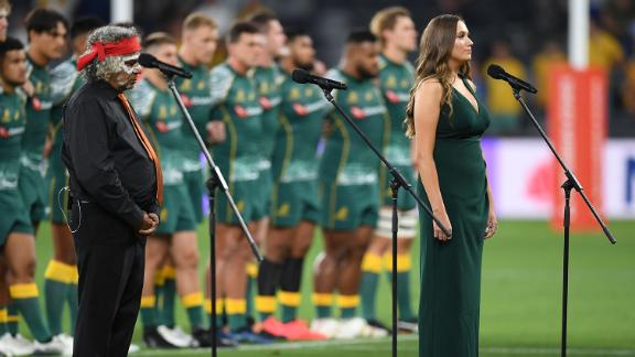 Olivia Fox sings Australia's national anthem in the Eora language during the Tri Nations rugby match in Sydney on December 5, 2020.