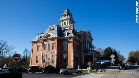 The Hancock County Courthouse was rebuilt in 2014 after fire consumed much of the structure built starting in 1881.