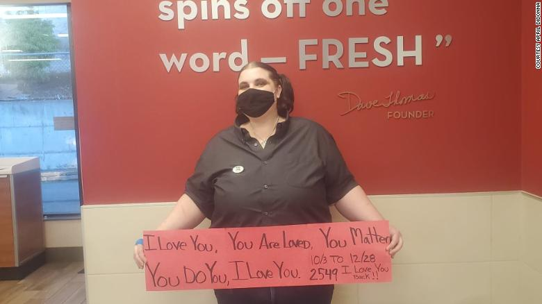 A Wendy's manager is trying to change the world one 'I love you' at a time
