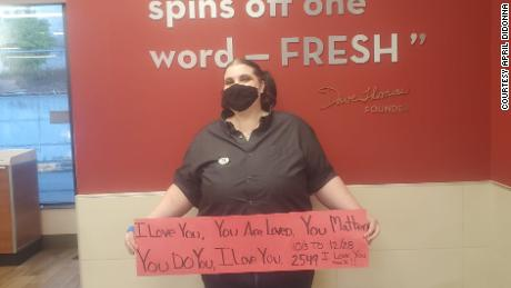"April DiDonna has been telling Wendy's customers ""I love you"" for three months and thousands have said it back."