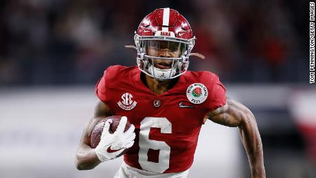 Alabama wide receiver and Heisman Trophy finalist DeVonta Smith had three touchdowns Friday in the Rose Bowl semifinal.
