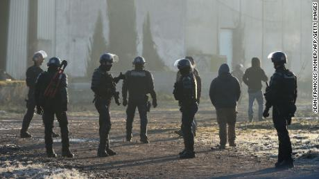 French gendarmes break up the rave in Lieuron on January 2.