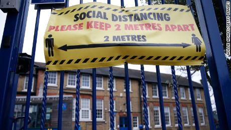 A general view of social distancing signs displayed at Coldfall Primary School in Muswell Hill on January 2, 2021 in London, England.
