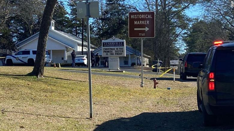 The scene of a shooting at Starrville Methodist Church in Winona, Texas, on Sunday, January 3, 2021.