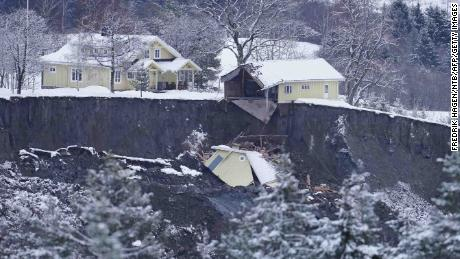 Debris from a destroyed house in Ask, Gjerdrum county, on December 31, 2020, one day after the landslide.