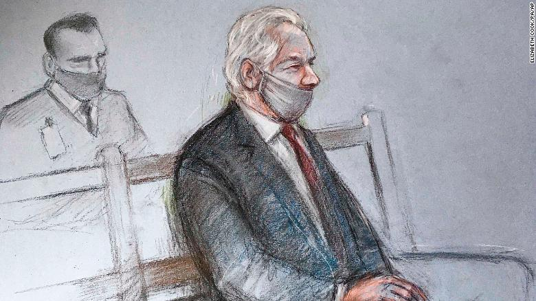 A court sketch of Julian Assange at the Old Bailey in London for the ruling in his extradition case on Monday, January 4, 2021.