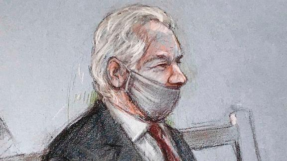 "A sketch depicts Assange appearing at the Old Bailey courthouse in London for a ruling in his extradition case on Monday, January 4. A judge rejected a US request to extradite Assange, saying that such a move would be ""oppressive"" by reason of his mental health."