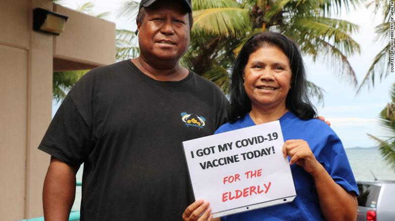 Palau Minister of Health Dr. Emais Roberts with the first person to receive the Covid-19 vaccine in the country, Dr. Sylvia Osarch.