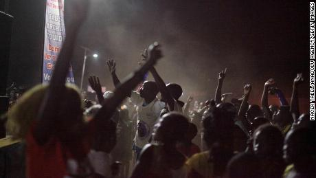 Supporters of Faustin-Archange Touadera celebrate after election results announced in the capital.