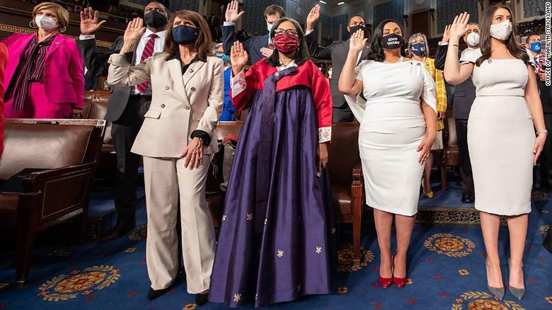Congresswoman Marilyn Strickland wore traditional Korean clothing to her swearing-in to celebrate her mother's heritage