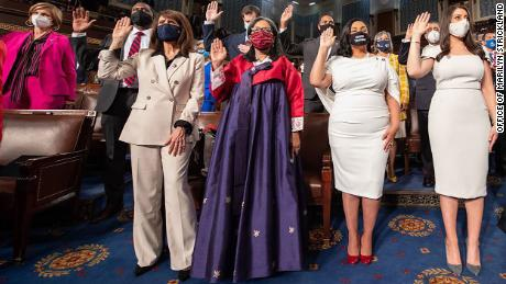 Rep. Marilyn Strickland is sworn in to Congress in a traditional Korean hanbok.