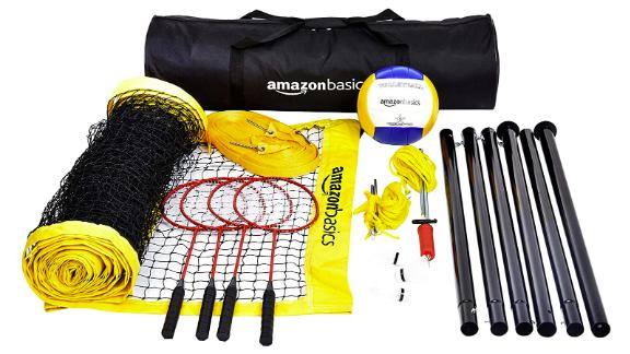 Amazon Basics Outdoor Volleyball and Badminton Combo Set with Net